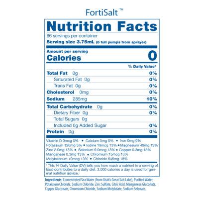FortiSalt Nutri Facts Panel