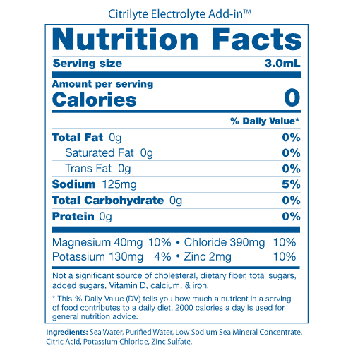 Citrilyte Nutrition Facts Panel