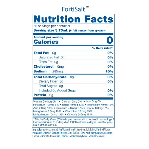 FortiSalt Nutritional Facts Panel