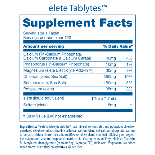 Tablytes Nutrition Facts Pane