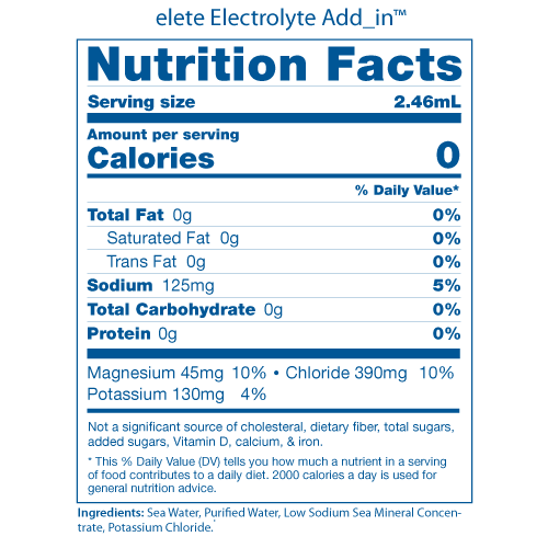 elete Nutrition Facts Panels